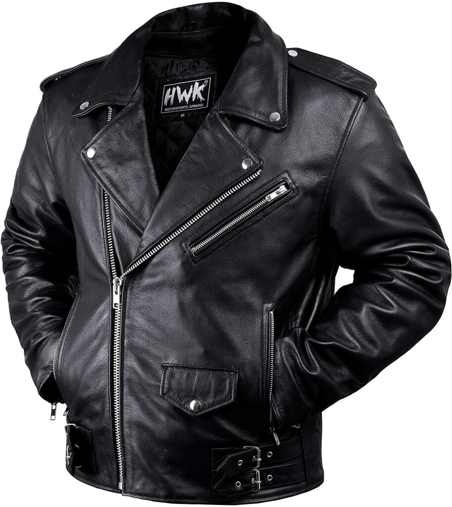 HWK Vintage Leather Motorcycle Jacket