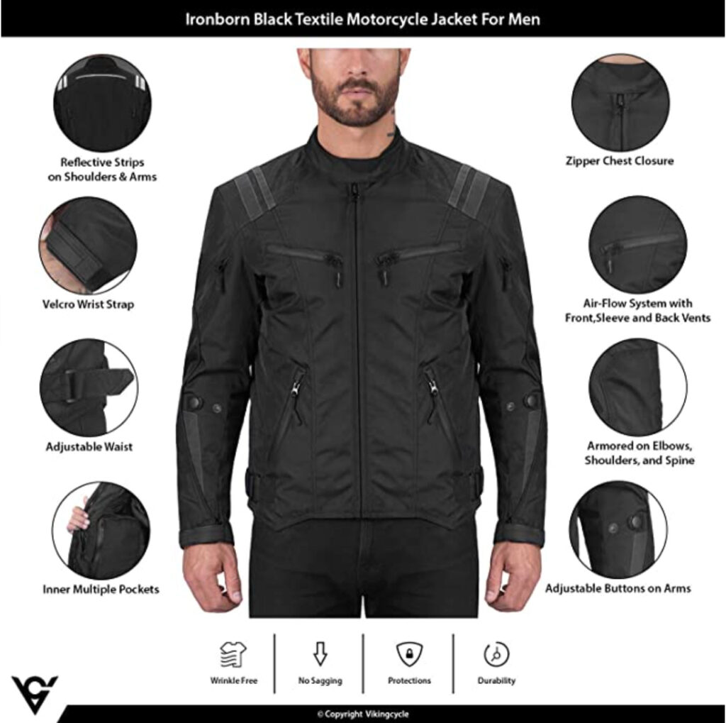 Viking Cycle Ironborn Motorcycle Jacket Features