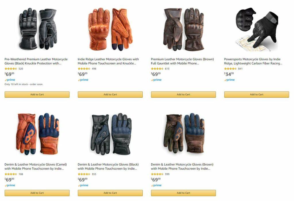 Indie Ridge Motorcycle Glove Styles
